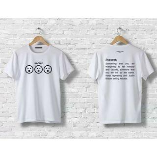 Kaos Secret Patrickevans 100% Cotton Putih Sisa Size S, M, L