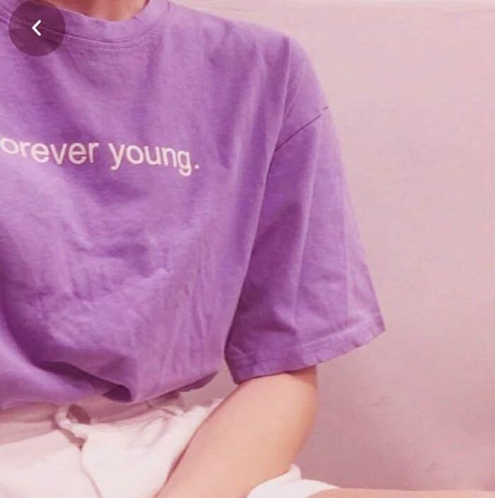 Kaos Ungu Vintage Aesthetic Retro Fesyen Wanita Pakaian Wanita Atasan Di Carousell