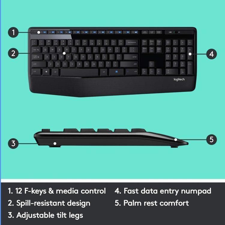 Logitech Mk345 Wireless Combo Full Sized Keyboard With Palm Rest And Comfortable Right Handed Mouse Electronics Computer Parts Accessories On Carousell