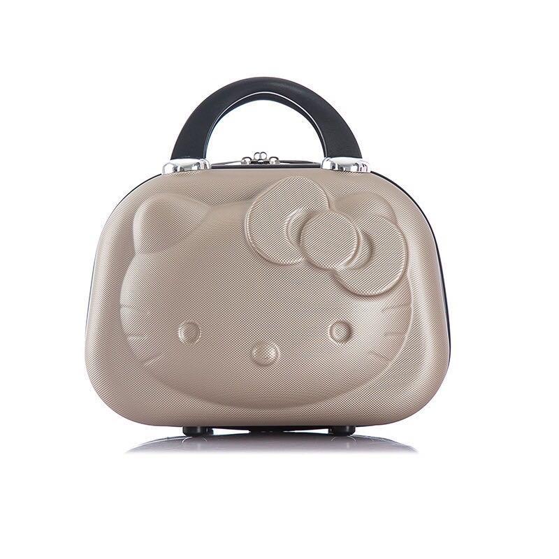 凱蒂貓 14吋 背後有鬆緊帶 小旅行箱 Hello Kitty 3D 手提化妝箱 KT 化妝箱 化妝包 收納箱 收納盒 ( $ 280含運)