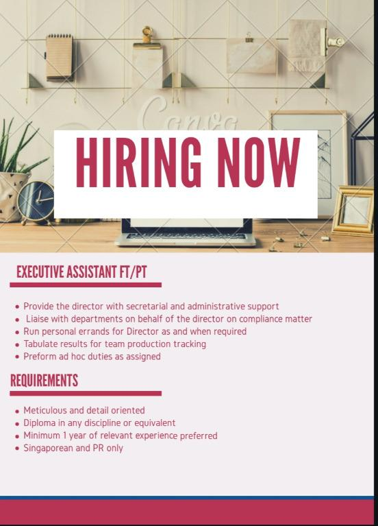 Executive Assistant [ Full Time & Part Time ]