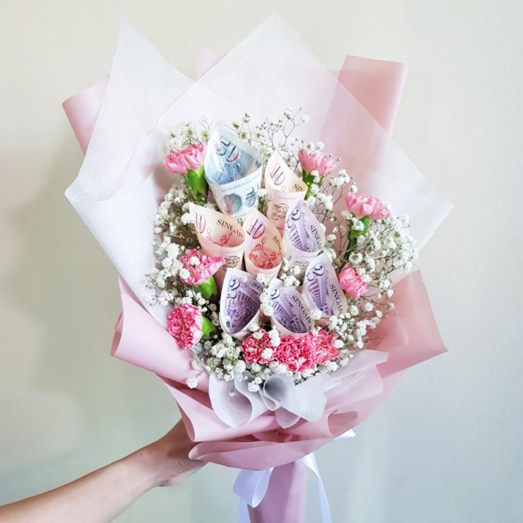 Money Fresh Flower Bouquet For Celebration Lover Birthday Girlfriend Mother Father Teacher Gardening Flowers Bouquets On Carousell