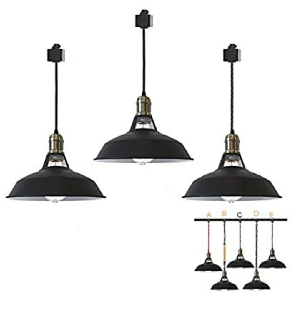 Stglighting Iron H Type Track Pendant Lighting 11 8in Cord Customizable Black Lampshade Dimmable Track Mount Pendant Lights For Industrial Style E26 Instant On Halo Track Light Home Furniture Furniture Fixtures Lighting