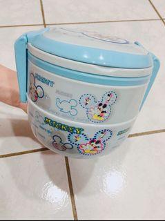可愛多層便當盒 水藍色 米奇