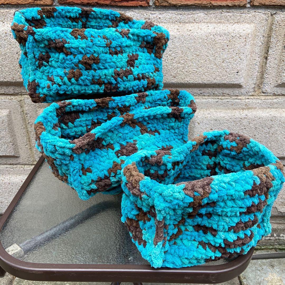 Hand made Crochet storage baskets