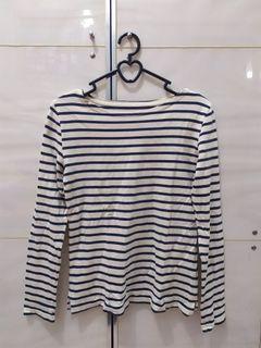 Tshirt Lengan Panjang Stripes Navy Putih