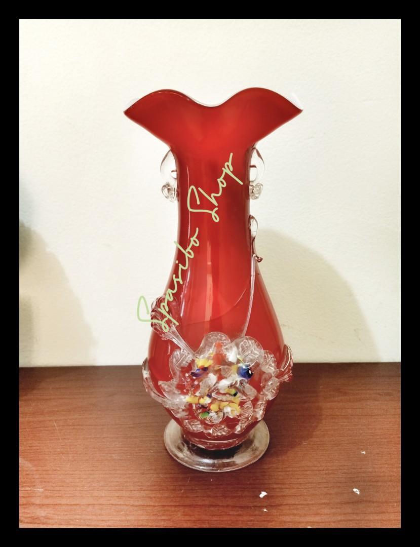 Vas bunga merah vintage 70s nipon flower Glass vase
