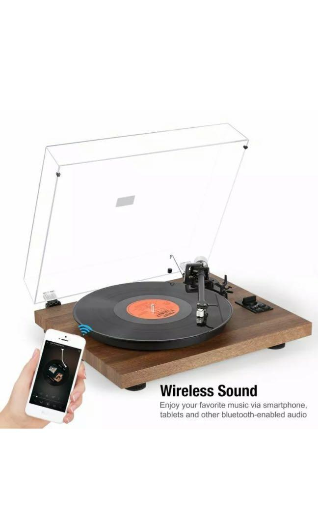 1byOne Wireless Turntable HiFi System w/ 36 Watt Bookshelf Speakers