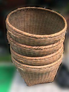稀有!3個合售🌟早期老米籮  籮兜  穀籮  竹編米籮  老竹簍 農具用品 復古老舊裝飾