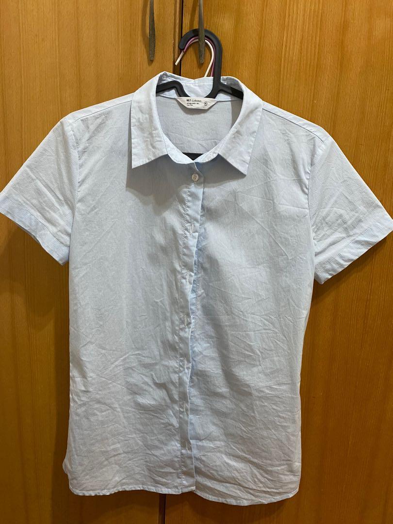 徵收  Net短袖淺藍色襯衫 尺寸4