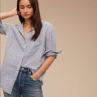 ARITZIA Community Veritas Linen Button-down Shirt in Black Mix