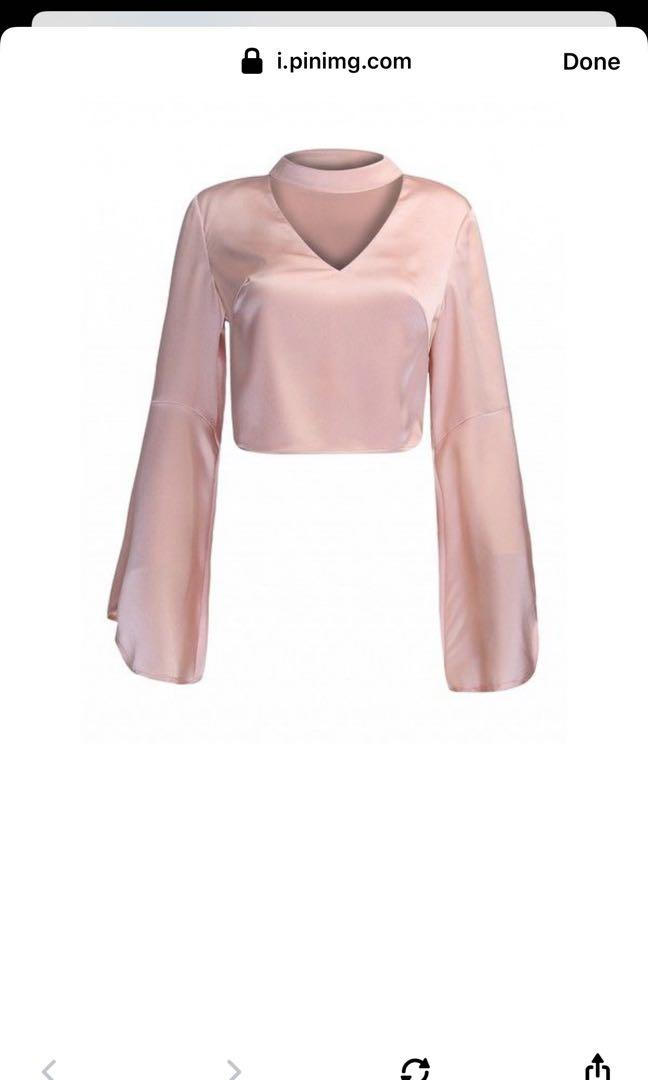Choies v neck cropped bell sleeve top size S