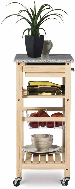 Linon Kitchen Island With Wine Bottle Rack Storage Draw