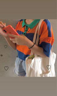 藍橘條紋polo衫