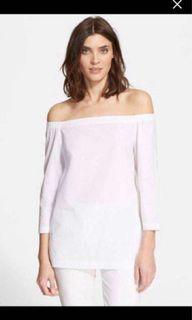 Theory off the shoulder white top