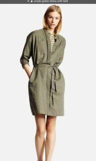 Uniqlo Army Green Dress with Belt