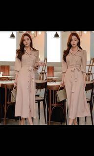 韓版 襯衫領鈕扣連身裙 長袖長裙