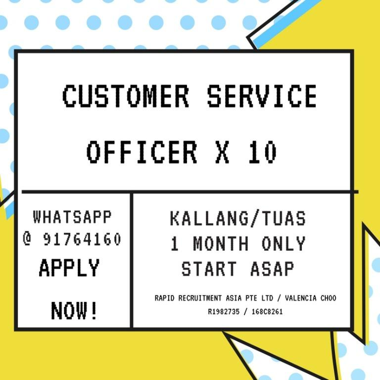 ✨ Customer Care Officers  @ East/West ✨(3rd Aug to 31 Aug)