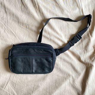 Black Leather Belt Bag Wallet