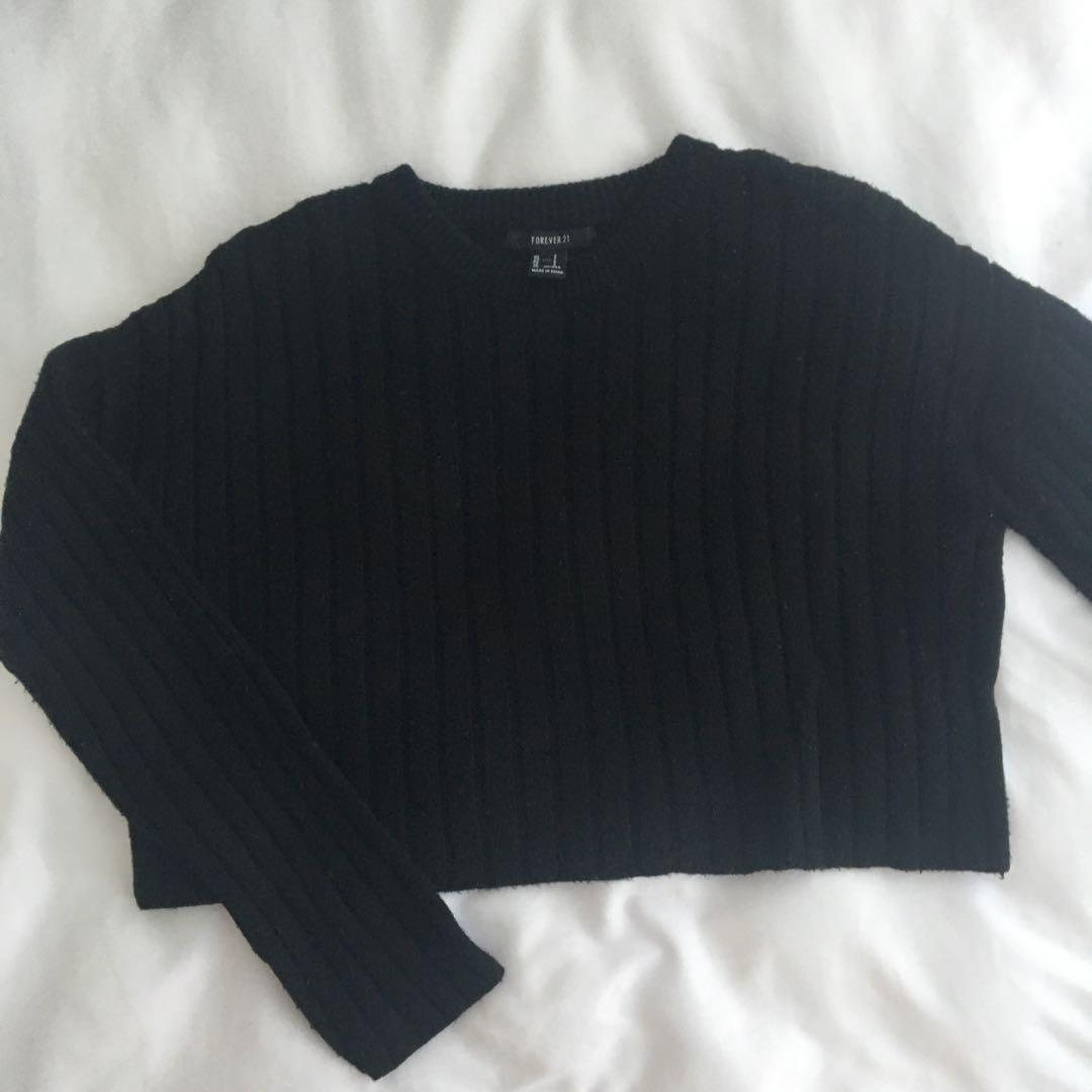 Forever 21 Ribbed Cropped Chunky Sweater
