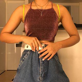 Meraki Shimmery / Glittery Purple Backless Y2K Crop Top