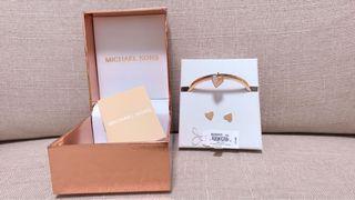 Michael Kors 玫瑰金 手環耳環 兩件組 禮盒
