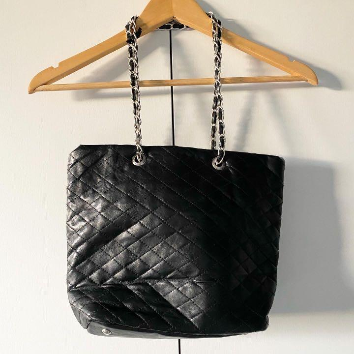 quilt print black bag