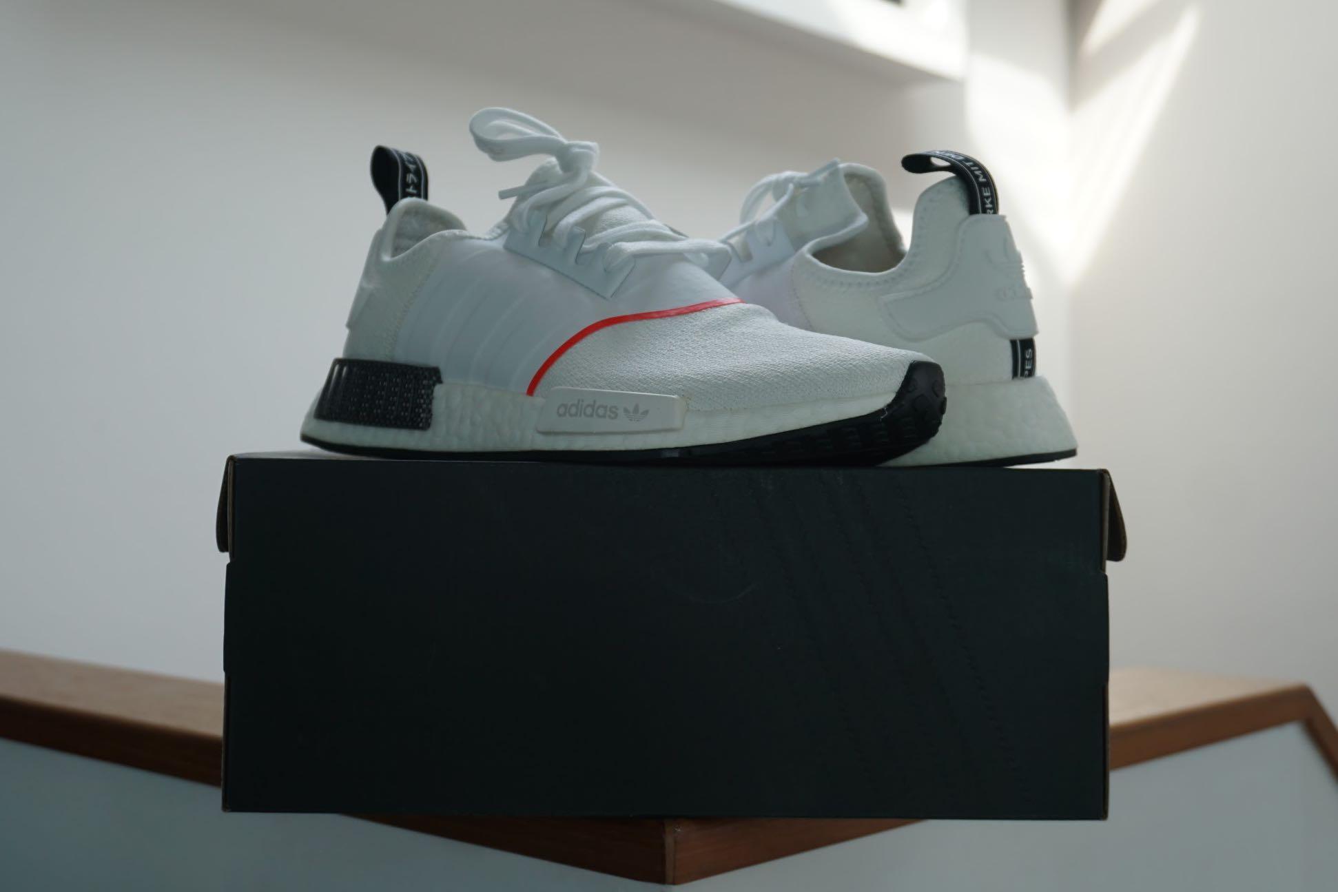 adidas nmd r1 cloud white solar red