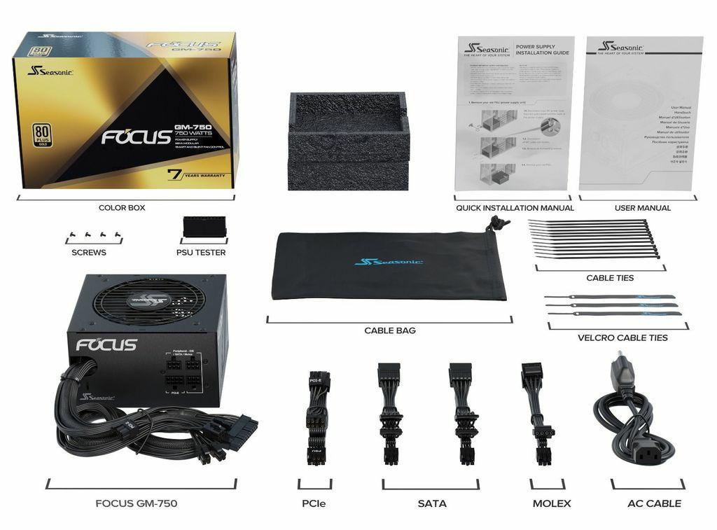 WTS: Almost New Seasonic Focus GM-750 80 Plus Gold Semi Modular ATX Power Supply