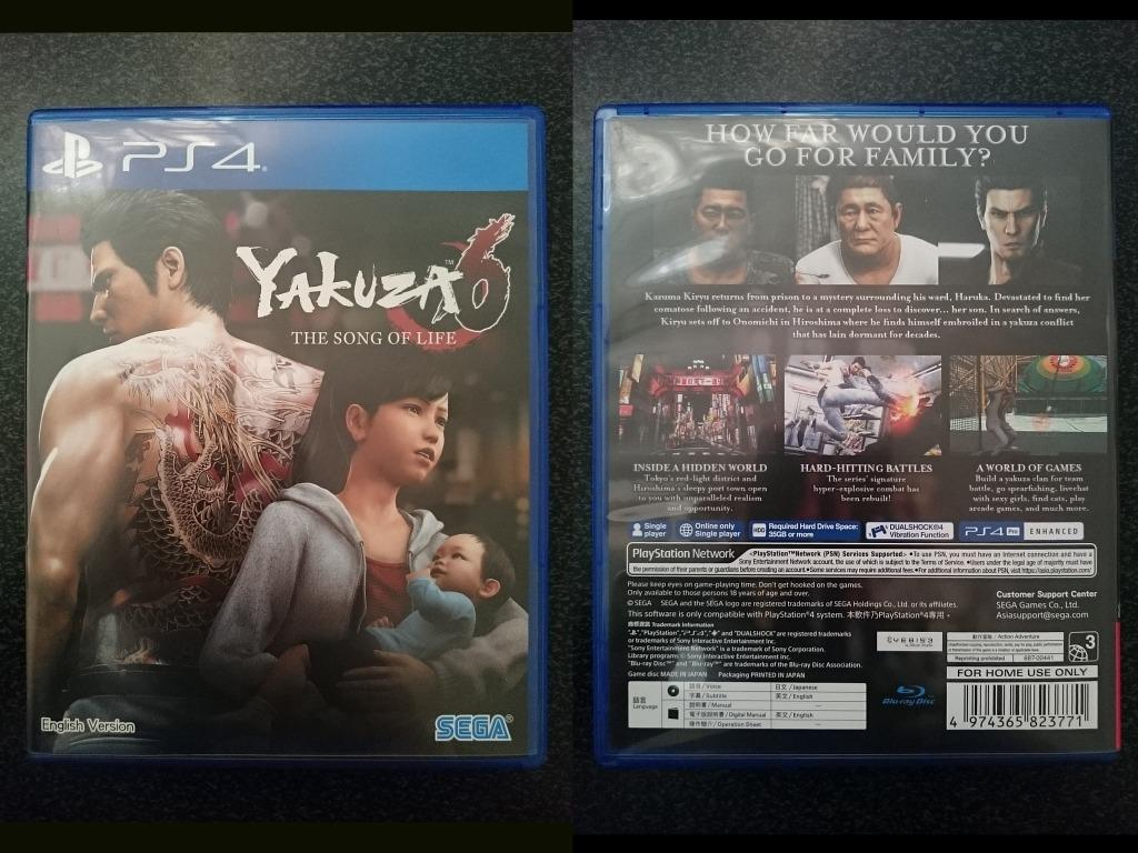 Yakuza 6 The Song Of Life PS4 Game with Hard Cover CD Case