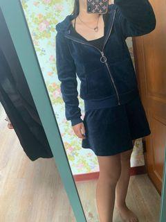 外套裙子絨毛冬季深藍
