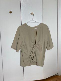 Beige Army Green Top twisted back blouse