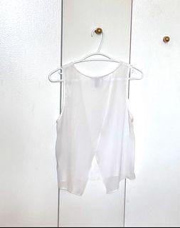 F21 white mesh top open back blouse