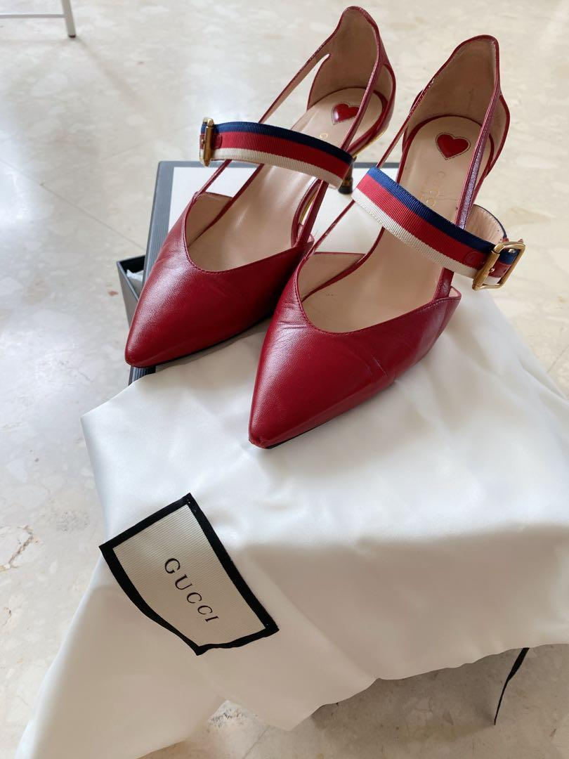 Gucci red 2018 mid heels, Women's