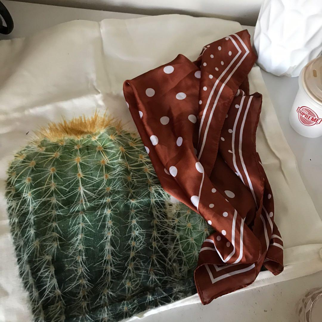 Cactus pillow case and scarf