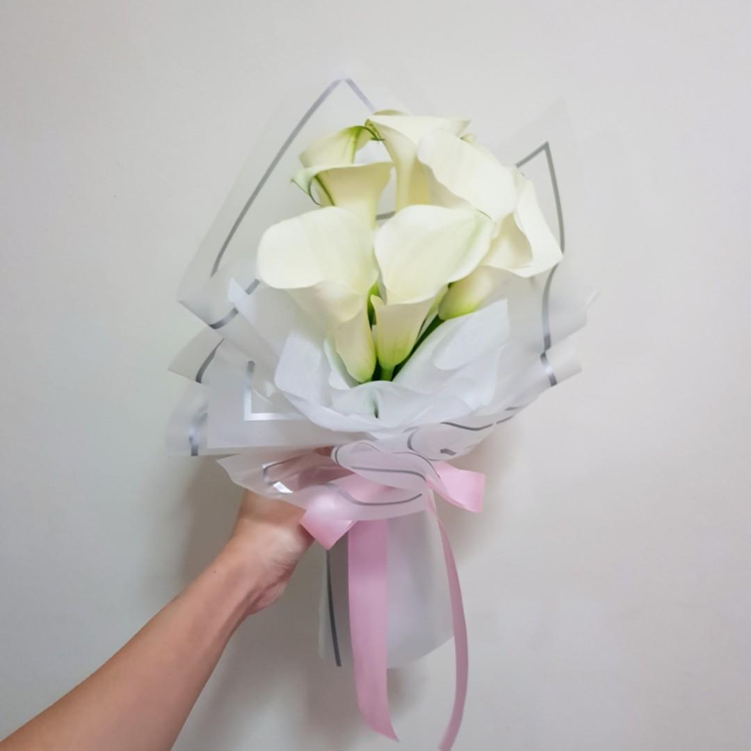 Innocence Calla Lily Flower Bouquet For Anniversary Lover Birthday Mother Gardening Flowers Bouquets On Carousell