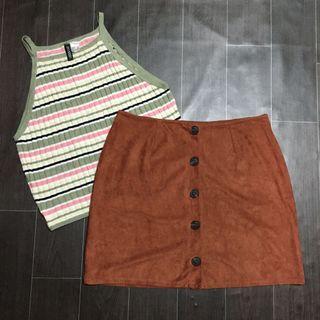 Suede Buttondown Skirt