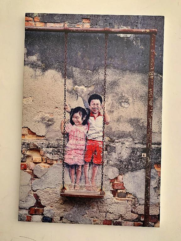 FRAMED (no glass & unseen) - SET OF 3 CANVAS OIL PAINTINGS FROM PENANG