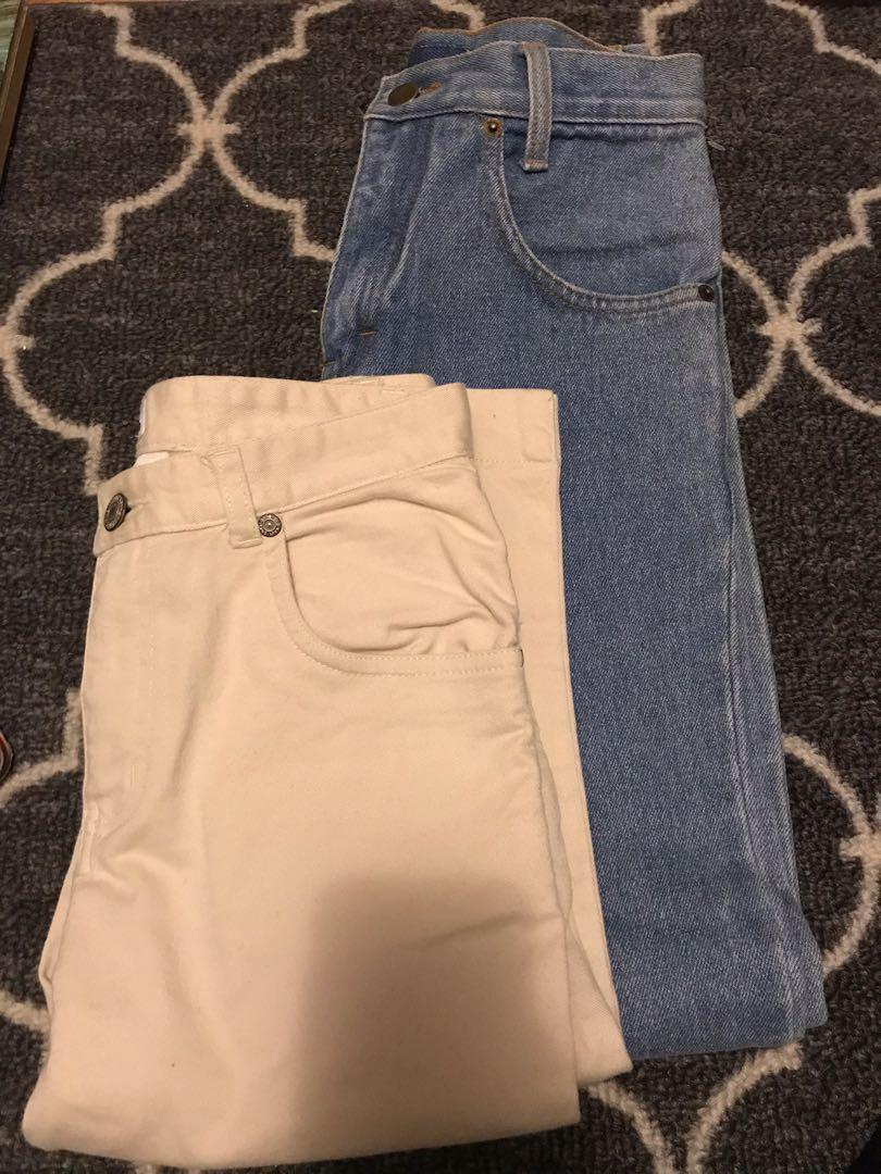 Girls denim jeans and khaki crops
