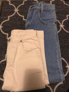 Girls denim jeans and khaki crops