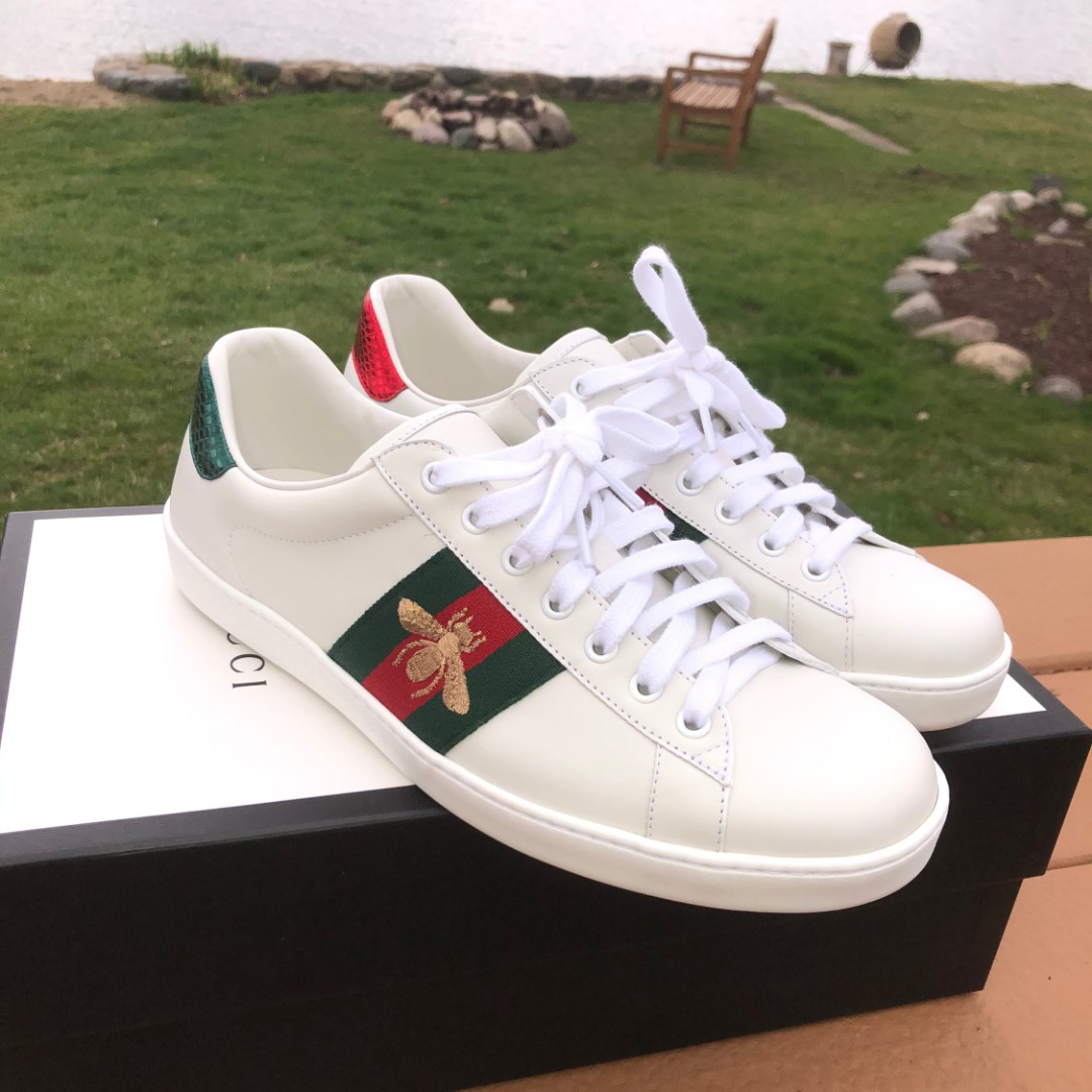 Gucci White Bee New Ace Sneakers, Men's