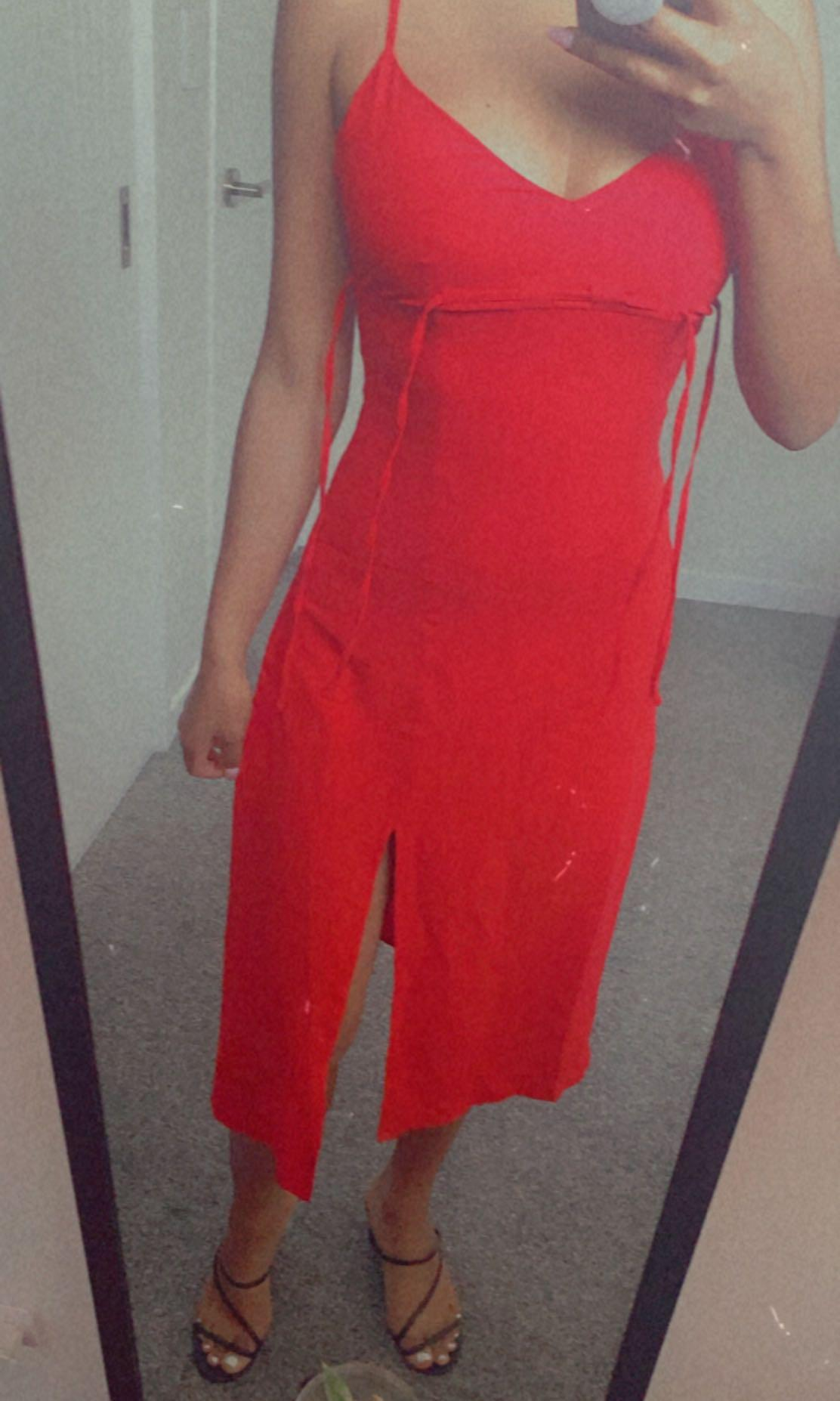Red side slit dress- size 6