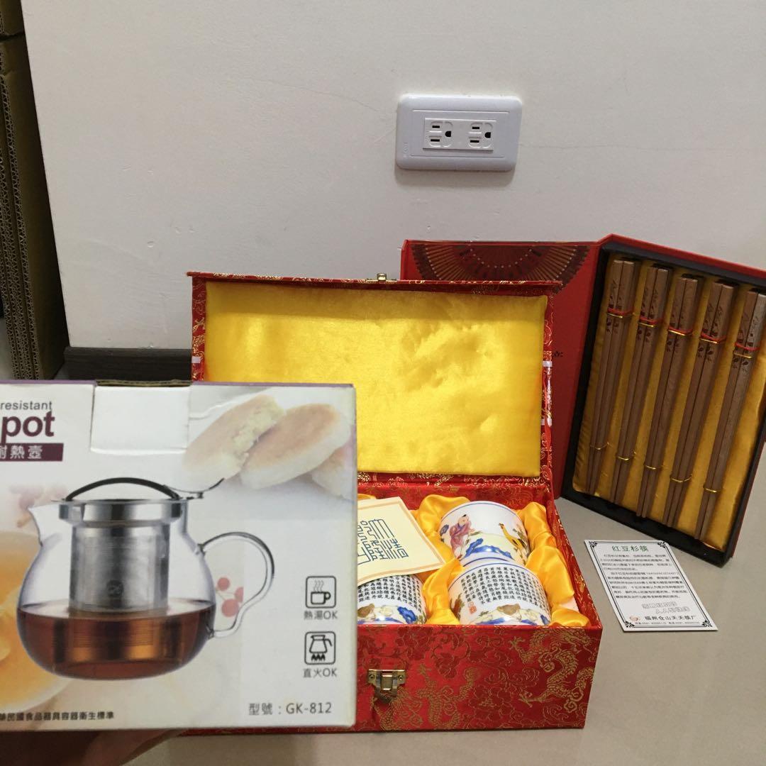 紅豆杉筷一整組/茶杯組/teapot圓滿耐熱壺