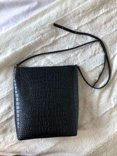 Black snakeskin bag
