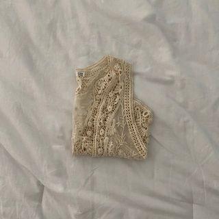 cream crochet sleeveless cardigan