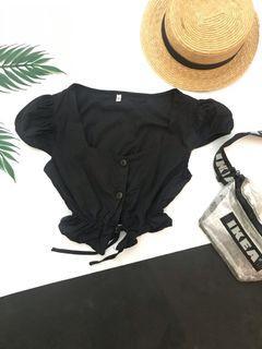 (NEW) Black cropped shirt