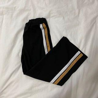 yellow & white striped wide leg pants w/ slits