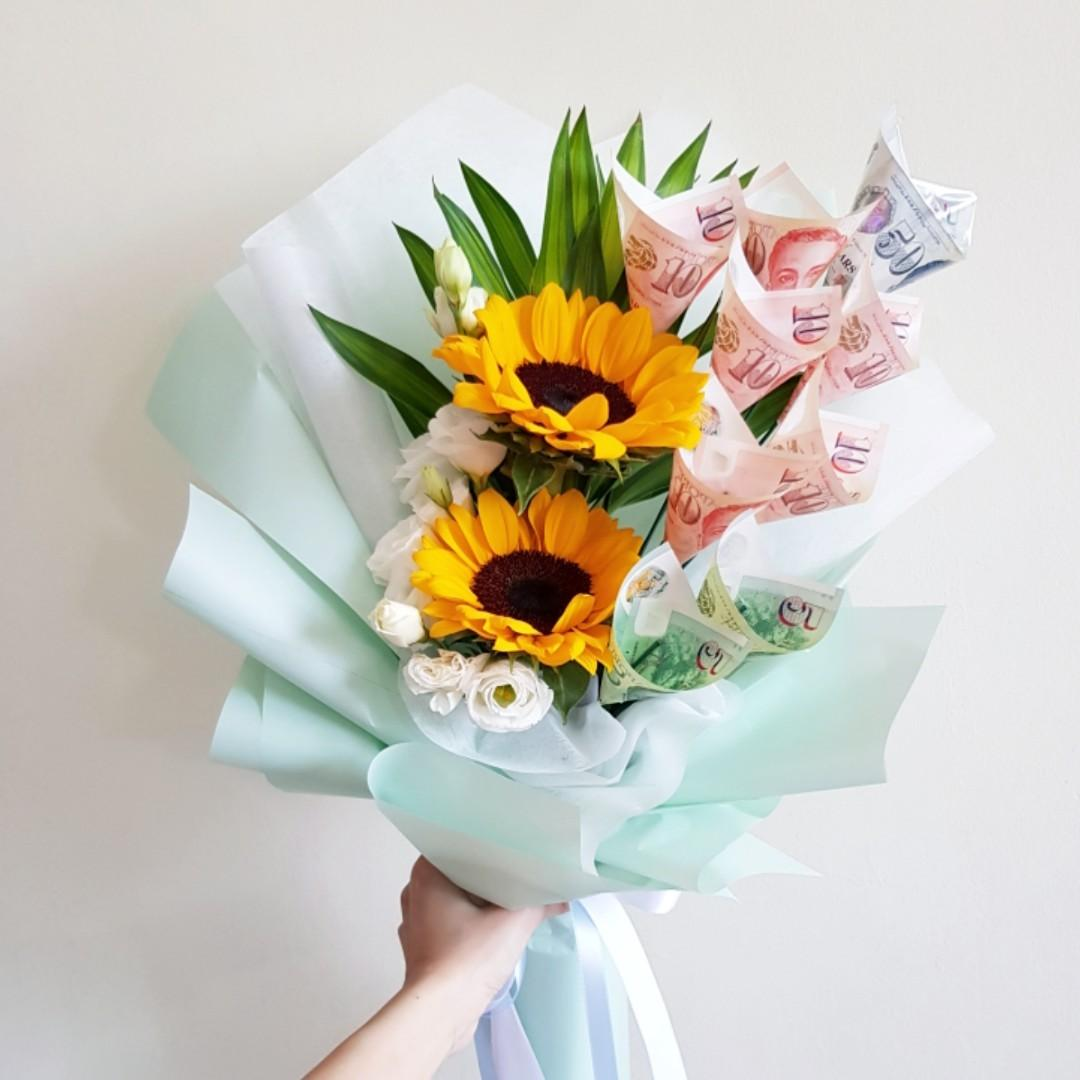 Money Sunflower Flower Bouquet For Birthday Celebration Anniversary Lover Wife Girlfriend Mother Gift Gardening Flowers Bouquets On Carousell