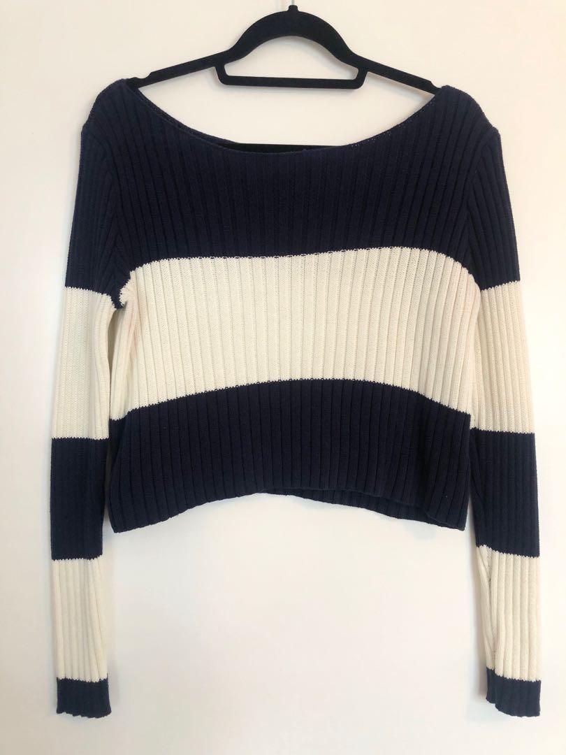 Navy Blue and Cream Striped Aerie Cropped Sweater