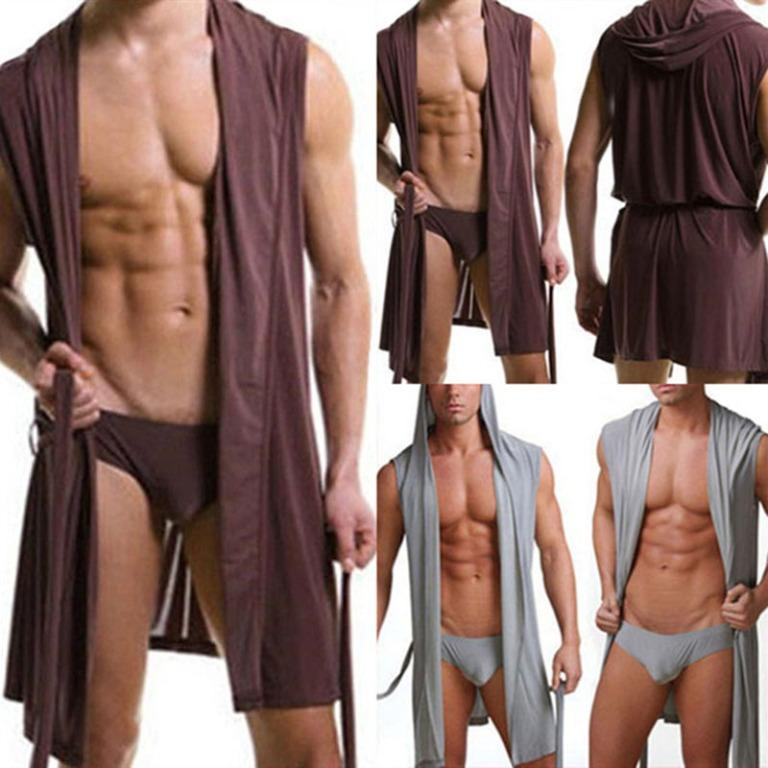 Pajamas Sleepwear Bathrobe 2-pack Ultra lightweight smooth Men Lounge wear Air conditioning briefs for him
